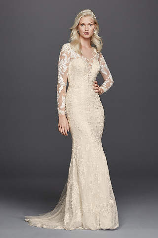 Long sleeve lace wedding dresses davids bridal long sheath vintage wedding dress galina signature junglespirit Gallery