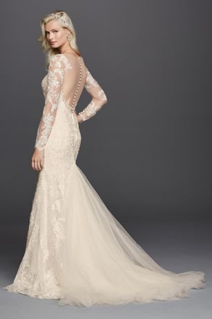 Lace Long Sleeve Illusion V Neck Wedding Dress David S