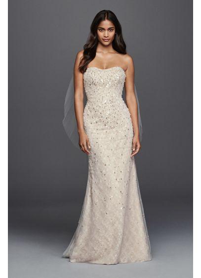 Beaded Fringe Bodice Lace Sheath Wedding Dress | David's Bridal