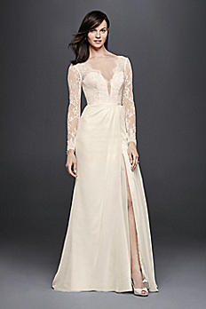 Chiffon Wedding Dress with Low V-Neck and Back SWG751