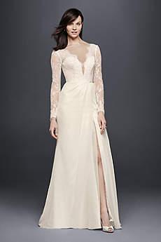 Long Sheath Vintage Wedding Dress - Galina Signature