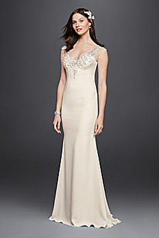 Petite Beaded Stretch Crepe Wedding Dress 7SWG752