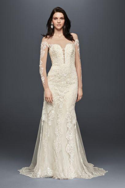 Long Sleeve Illusion Lace Wedding Dress Davids Bridal