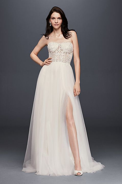 A-line Wedding Dress with Tulle Slit Skirt | David\'s Bridal