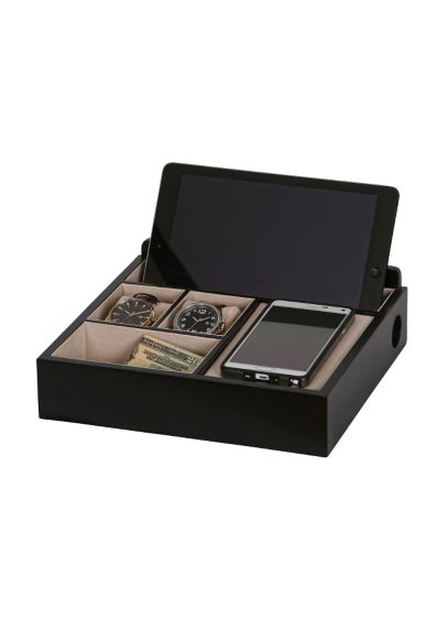 Rory Wooden Charging Valet in Black - Wedding Gifts & Decorations