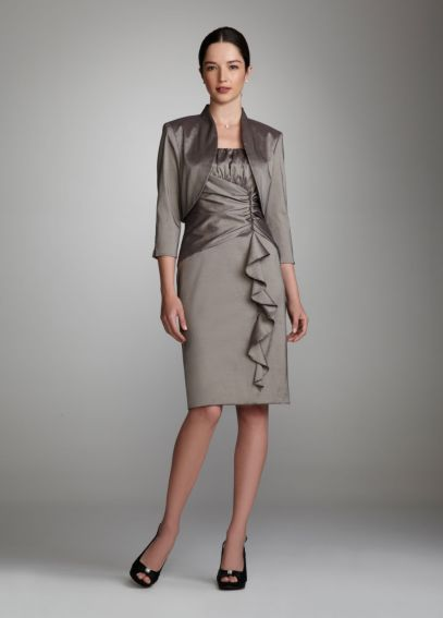 Two Piece Ruched Taffeta Dress with Jacket 029770