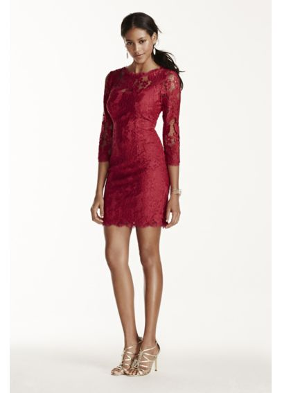 3/4 Sleeve Short Lace Dress with Illusion Neckline 041895510