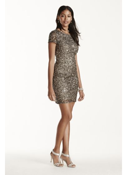 Short Sheath Short Sleeves Cocktail and Party Dress - Adrianna Papell