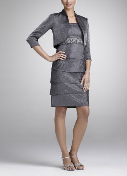 Hammered Shimmer Jacket Dress with Tiered Skirt 056480