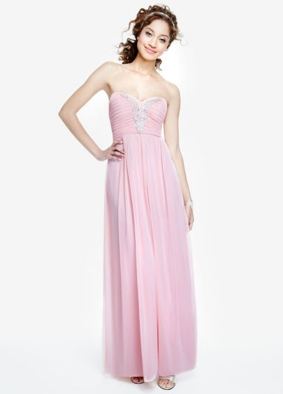 Strapless Chiffon Dress with Applique Detail 0577MX4B