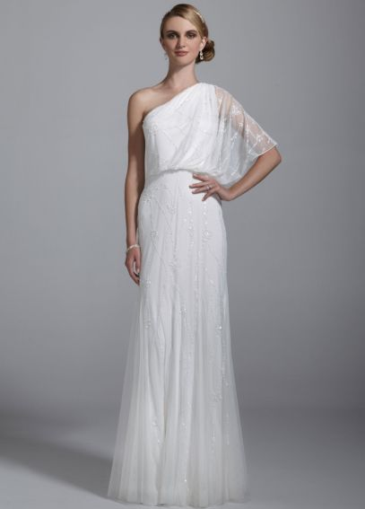 One Shoulder Blouson Full Beaded Gown 061877450