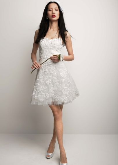 Organza Dress with All Over Floral Embroidery 061883760