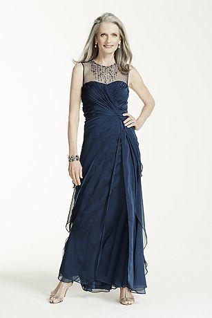Sleeveless Illusion Neckline Long Chiffon Dress