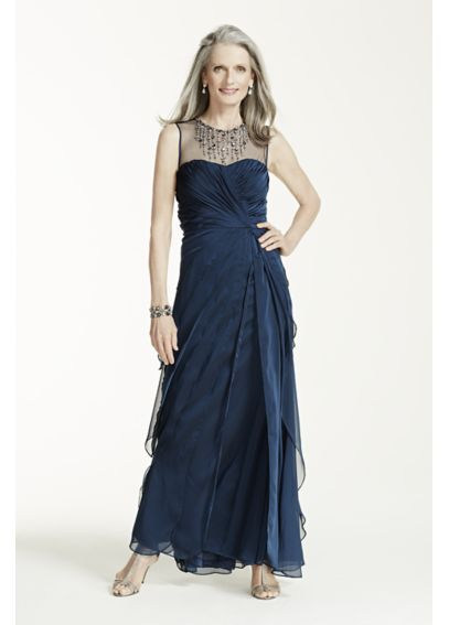 Sleeveless Illusion Neckline Long Chiffon Dress 061885200