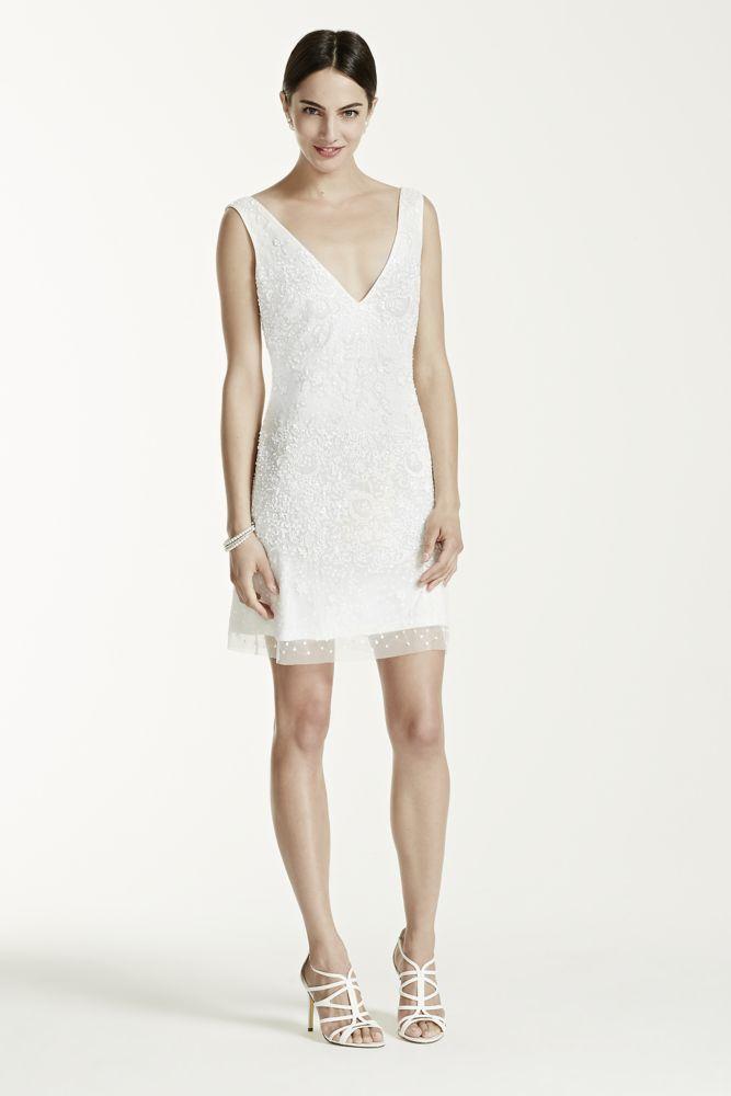 db studio Short Beaded Tank Wedding Dress with V Neckline | eBay