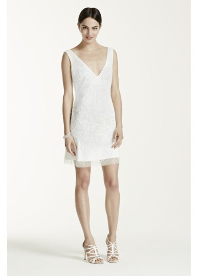 Short Beaded Tank Dress with V Neckline 061896880