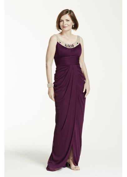 Sleeveless Long Dress with Illusion Neckline 061898770