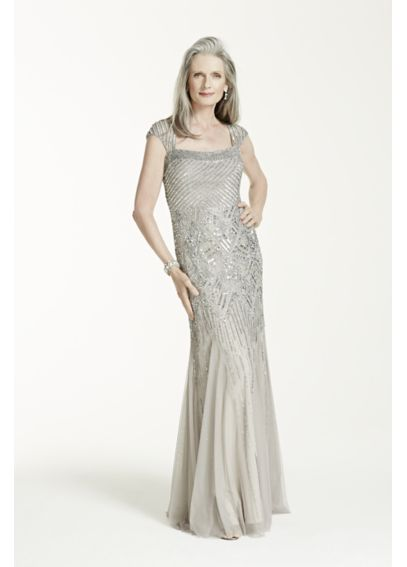 Cap Sleeve All Over Beaded Long Gown 061898790