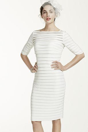 3/4 Sleeve Illusion Band Horizontal Striped Dress