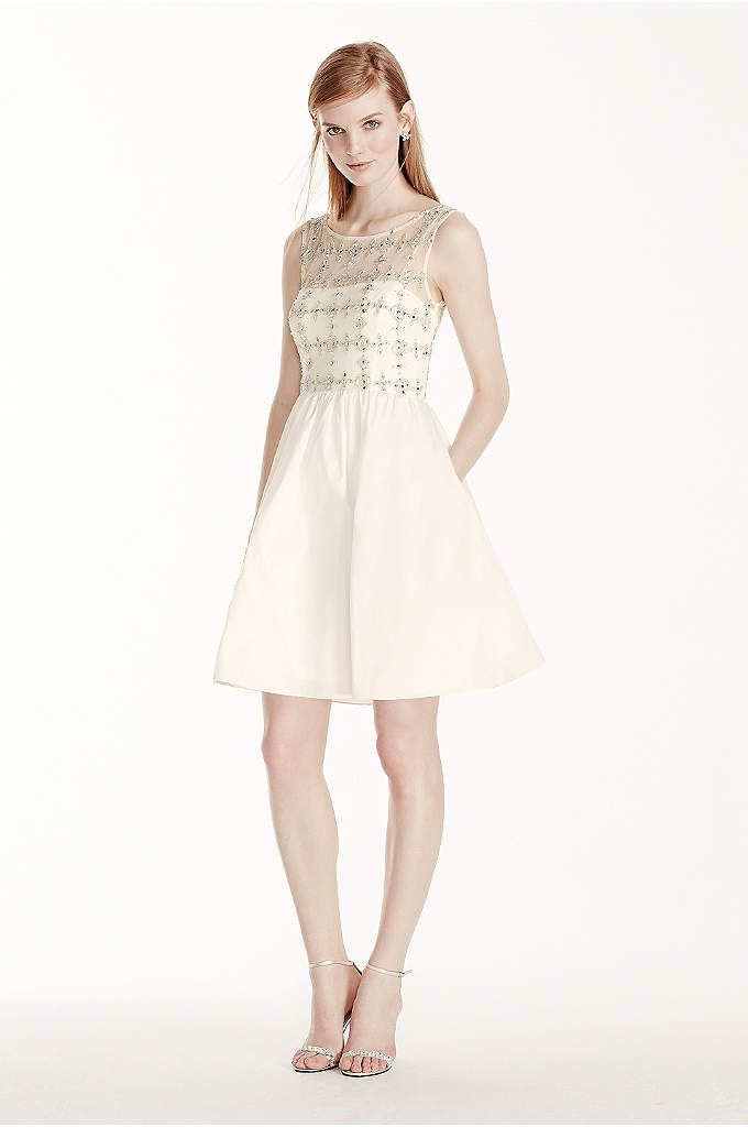 Beaded Illusion Bodice with Short Taffeta Skirt - Make a lasting impression on your special day
