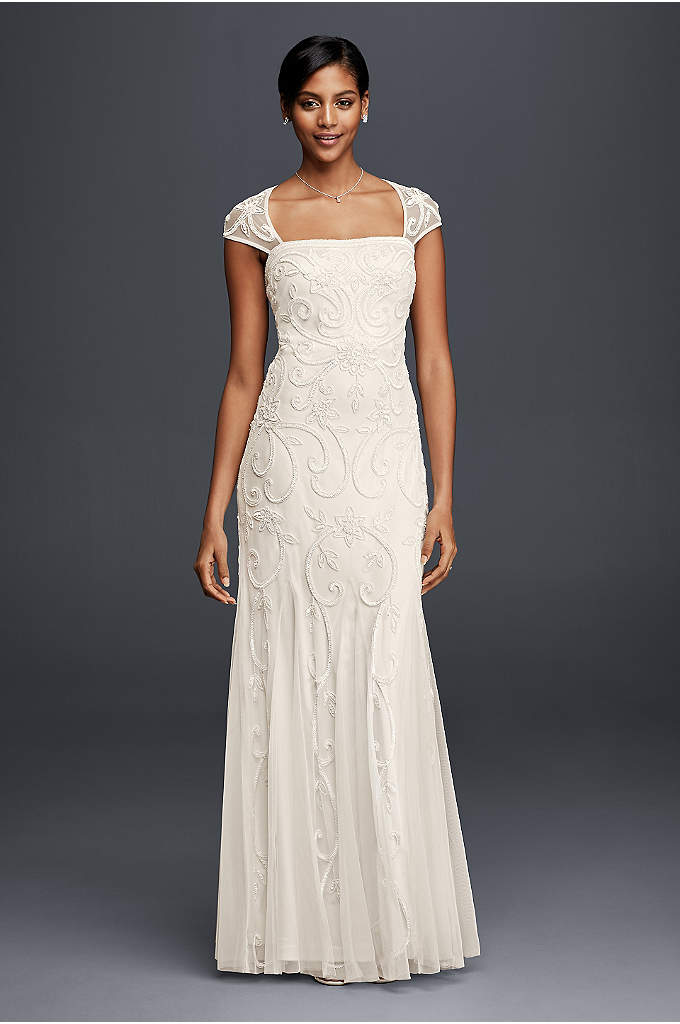 Beaded Sheath Wedding Dress with Cap Sleeves - Scrolling, floral-inspired beading blooms across the bodice of