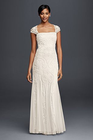 Beaded Sheath Wedding Dress with Cap Sleeves