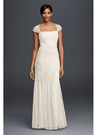 Beaded Sheath Wedding Dress with Cap Sleeves 061912590