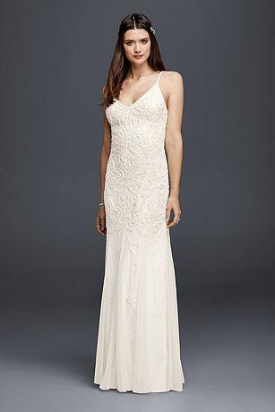 All-Over Beaded Sheath Dress with Godet Skirt