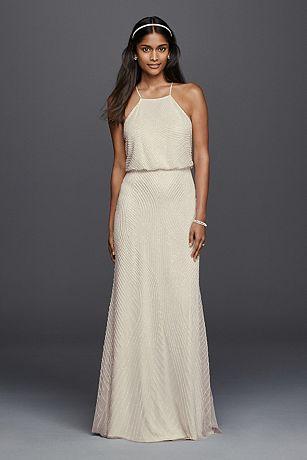 Halter Sheath Casual Wedding Dress with Beading