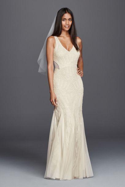 Beaded Illusion Sheath Casual Wedding Dress - Davids Bridal