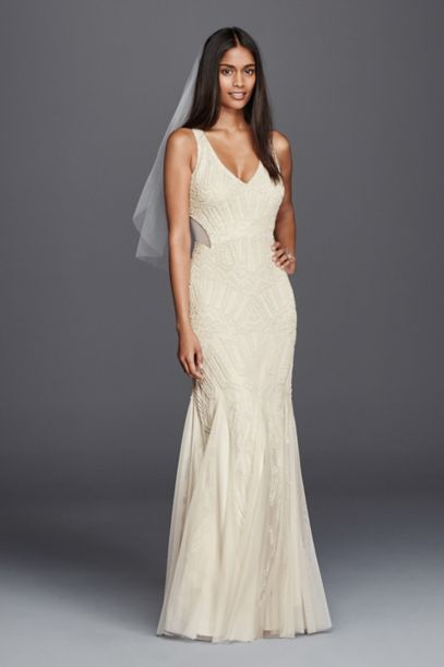 Beaded Illusion Sheath Casual Wedding Dress - Davids Bridal