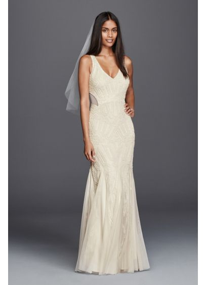beaded illusion sheath casual wedding dress david 39 s bridal