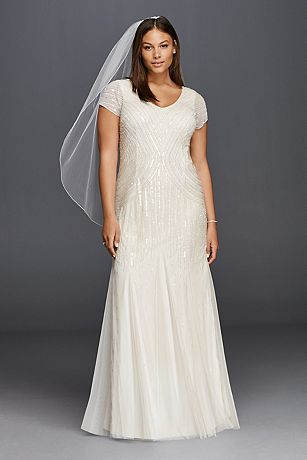 Short Sleeve Wedding Dress with All Over Beading