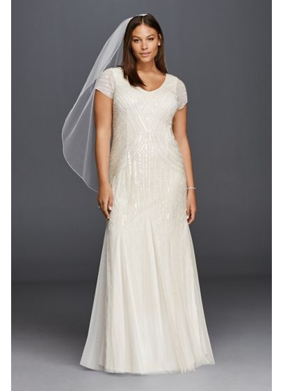 Long Sheath Glamorous Wedding Dress - DB Studio