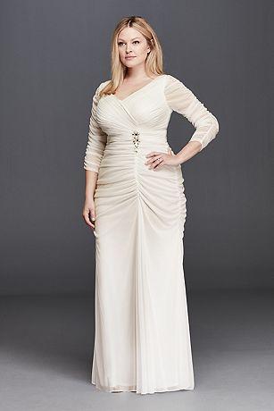 3/4 Illusion Sleeve Wedding Dress with Ruching