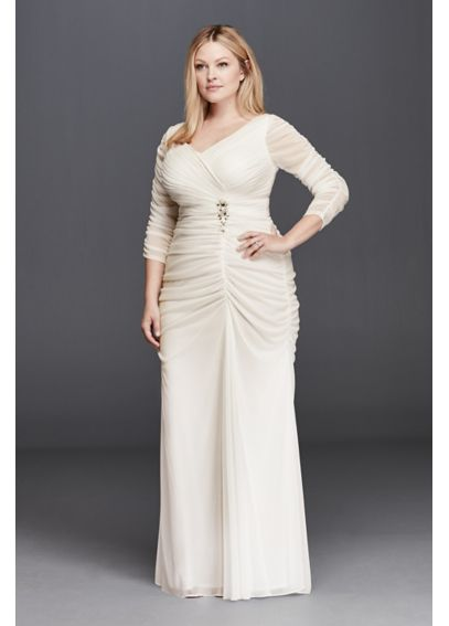 3/4 Illusion Sleeve Wedding Dress with Ruching 061925671W