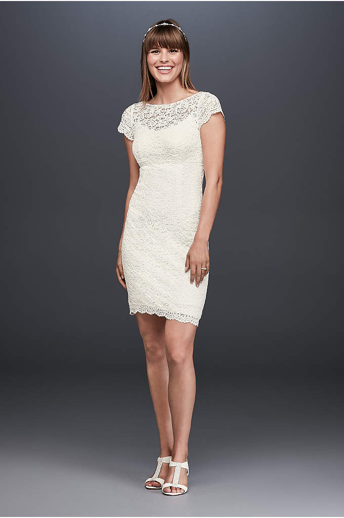 Cap Sleeve Short Lace Sheath - Fun and style savvy, this short sheath is