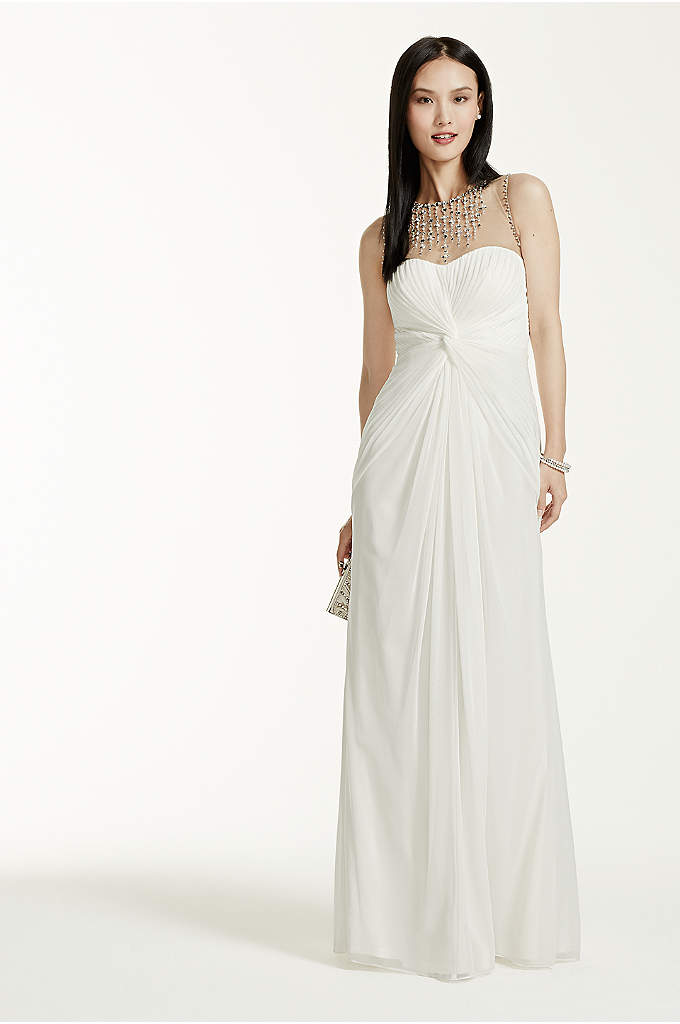 Long Mesh Dress with Illusion Beaded Neckline - Say I Do on your special day, in
