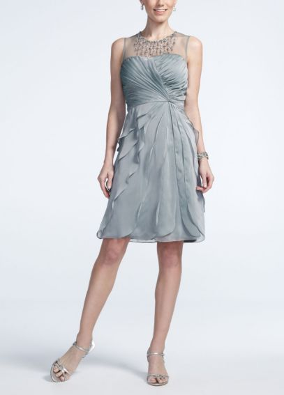 Sleeveless Illusion Neckline Flutter Dress 081884850