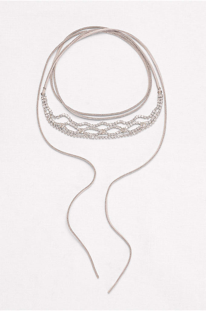 Wide Stone Wrap Choker - This rhinestone wrap choker is an on-trend adornment.