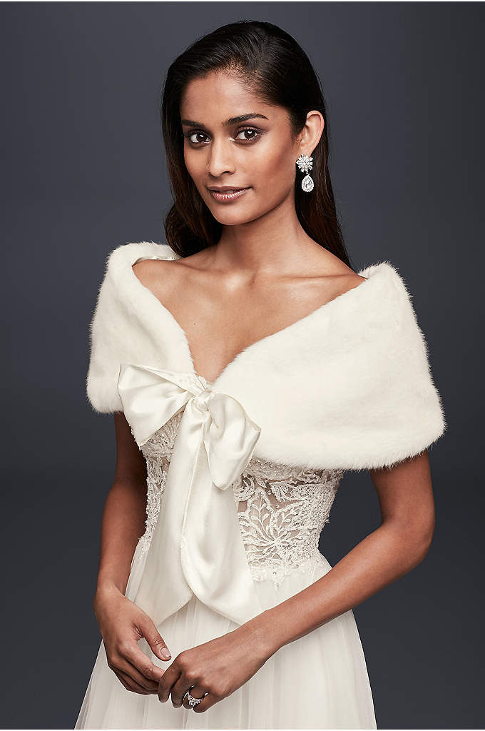 Faux-Fur Wrap with Wide Satin Tie - A glam addition for a cold-weather wedding, this