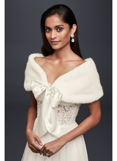 Faux-Fur Wrap with Wide Satin Tie - Wedding Accessories