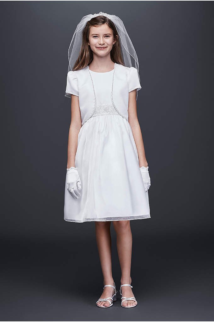Satin and Organza Communion Dress and Jacket - Topped with a matching bolero jacket, this shimmering