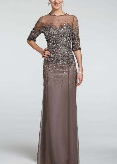 3/4 Sleeve Mesh Dress with Sequin Bodice 091863330