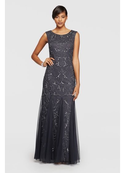 Long 0 Cap Sleeves Military Ball Dress - Adrianna Papell