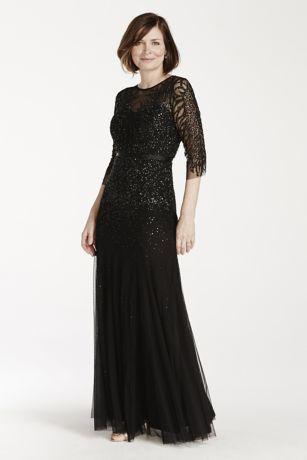 3 4 Illusion Sleeve Beaded Floor Length Dress David S Bridal