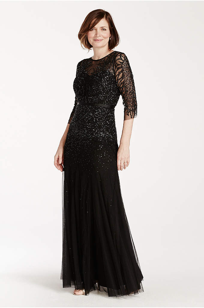 3/4 Illusion Sleeve Beaded Floor Length Dress