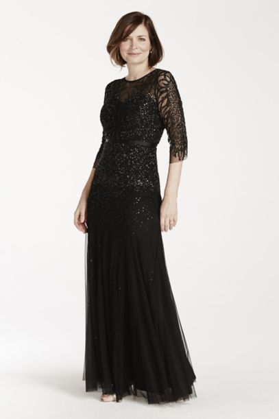 3/4 Illusion Sleeve Beaded Floor Length Dress - Davids Bridal