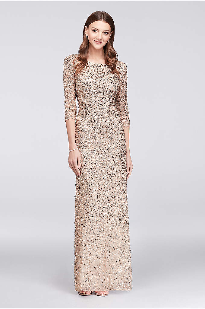 3/4-Sleeve Scoop-Back Sequin Gown - Completely covered in champagne and silver sequins and