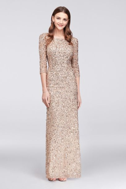 3/4-Sleeve Scoop-Back Sequin Gown | David's Bridal